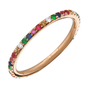 14K Rose Gold Rainbow Multi-Sapphire Ring