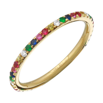 Yellow Gold 14K Rainbow Multi-Sapphire Ring