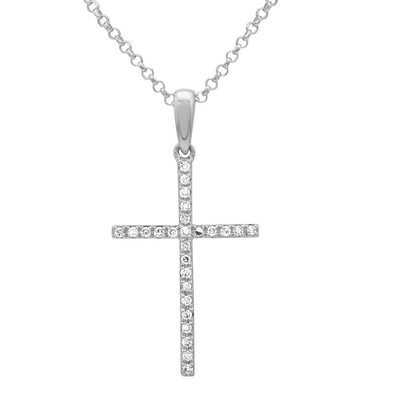 14K White Gold Medium Diamond Cross Necklace