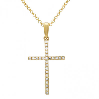 14K Yellow Gold Medium Diamond Cross Necklace