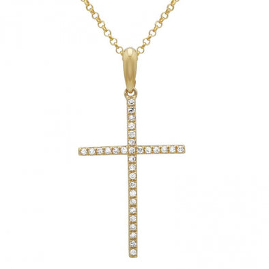 14K Yellow Gold Large Diamond Cross Necklace