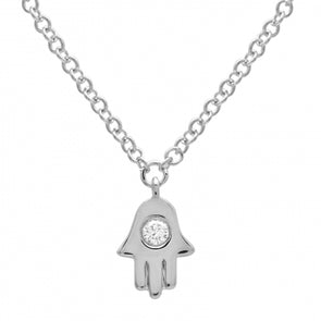14K White Gold Diamond Hamsa Necklace