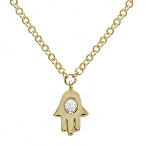 14K Yellow Gold Diamond Hamsa Necklace