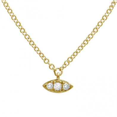 14K Diamond Evil Eye Necklace