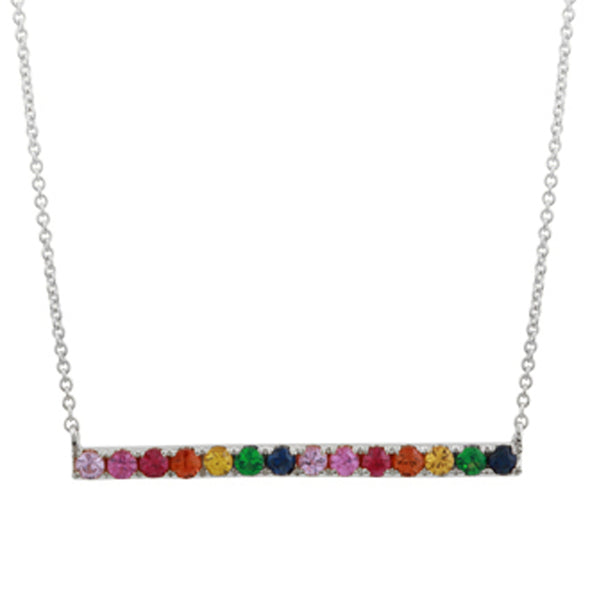 14K Yellow Gold Multi-Sapphire Rainbow Bar Necklace