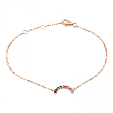 14K Rose Gold Rainbow Gemstone Bracelet