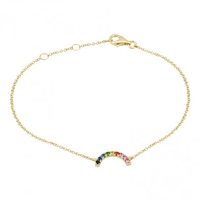 14k Gold Rainbow Gemstone Bracelet