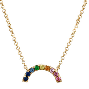 Yellow Gold 14K Multi-Sapphire Rainbow Necklace