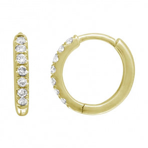 14K Yellow Gold Diamond Seamless Huggies