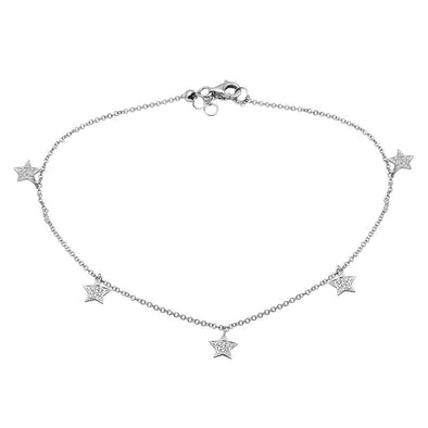 14K White Gold Diamond Star Anklet
