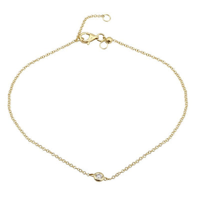 14k Yellow Gold Diamond  Bezel Anklet