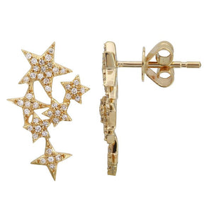 14k Yellow Gold Petite Diamond Celestial Earrings