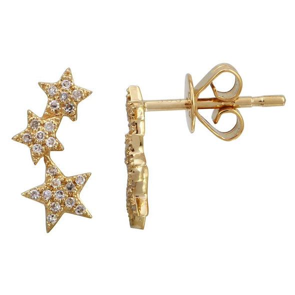 14K Yellow Gold Diamond Shooting Star Earrings