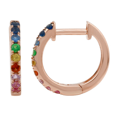 Multi-Sapphire Rainbow Mini Hoop Earrings