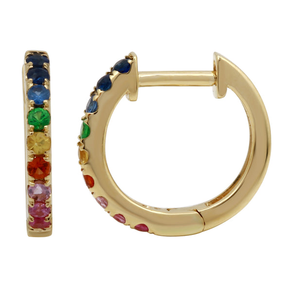 14K Rose Gold Multi-Sapphire Rainbow Mini Hoop Earrings