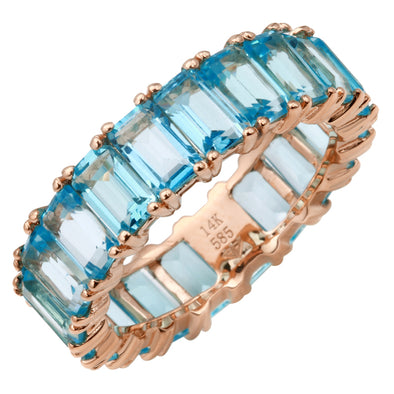 14K Rose Gold Emerald Cut Blue Topaz Ring (Large)