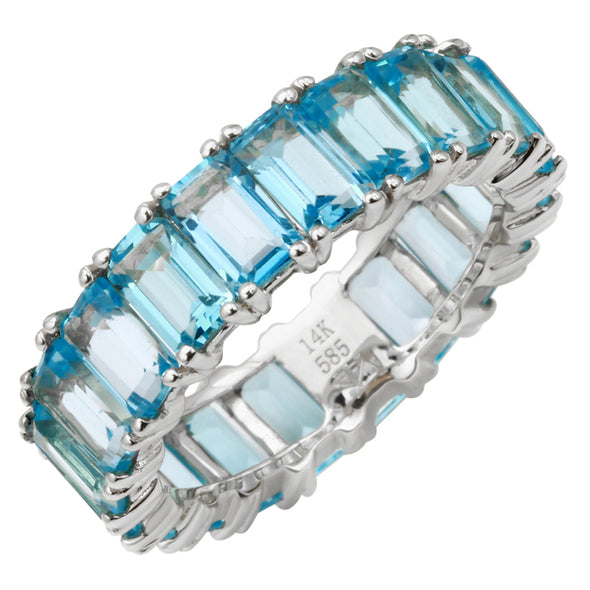 14K White Gold Emerald Cut Blue Topaz Ring (Large)