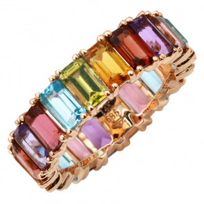 14K Rose Gold Multi-Sapphire Emerald Cut Eternity Ring (Large)