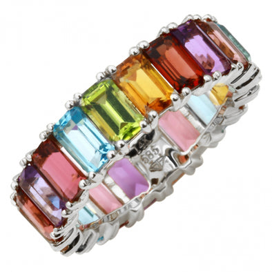14K White Gold Multi-Sapphire Emerald Cut Eternity Ring (Large)