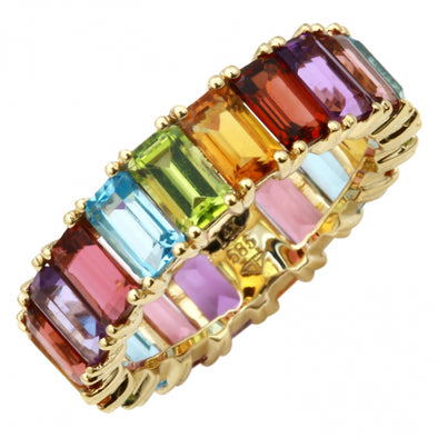 14K Yellow Gold Multi-Sapphire Emerald Cut Eternity Ring (Large)