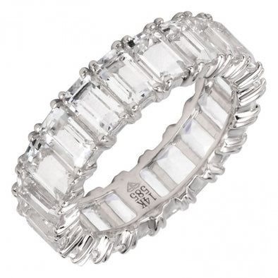 14K White Gold Emerald Cut White Topaz Eternity Ring (Large)