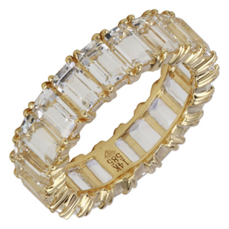 14K Yellow Gold Emerald Cut White Topaz Eternity Ring (Large)