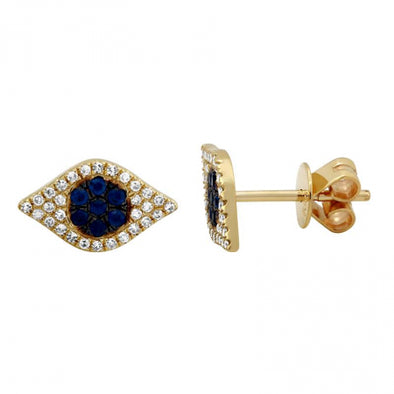 14K Yellow Gold Diamond + Sapphire Evil Eye Earrings