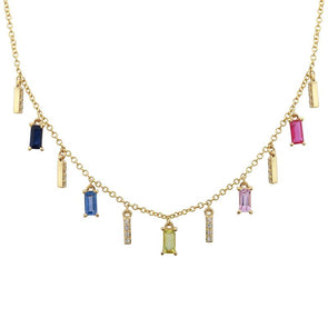 14K Yellow Gold Multi Gemstone + Diamond Necklace