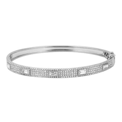 14K White Gold Diamond Bangle with Baguette Accents