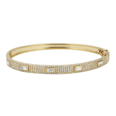 14K Yellow Gold Diamond Bangle with Baguette Accents