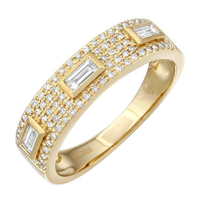 14K Yellow Gold Diamond Band with Baguette Accents