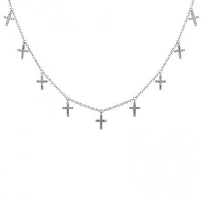 14K White Gold Diamond Multi-Cross Necklace