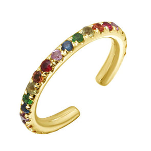 14K Yellow Gold Rainbow Gemstone Ear Cuff