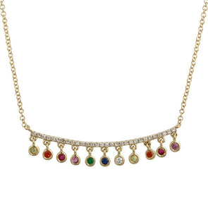 14K Yellow Gold Rainbow Dangle Necklace
