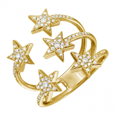 14K Yellow Gold Diamond Star Cluster Ring