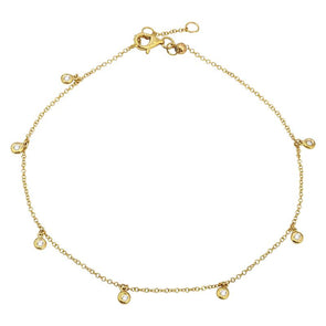 14K Yellow Gold Dangling Diamond Anklet