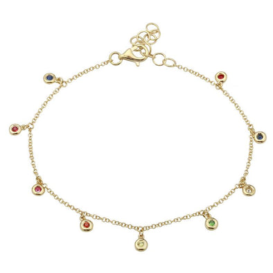 14K Yellow Gold Dangling Rainbow Bracelet