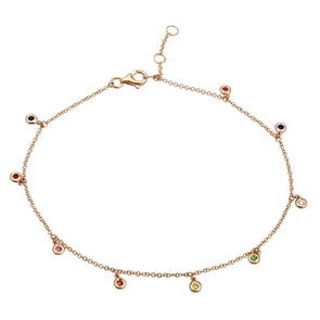 14K Rose Gold Rainbow Gemstone Anklet