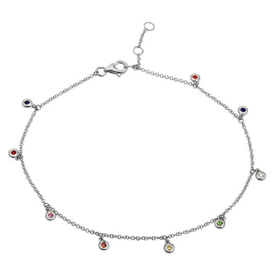 14K White Gold Rainbow Gemstone Anklet