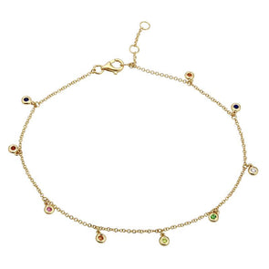 14K Yellow Gold Rainbow Gemstone Anklet