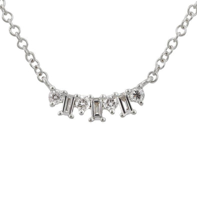 Staggered Baguette and Round Diamond Necklace