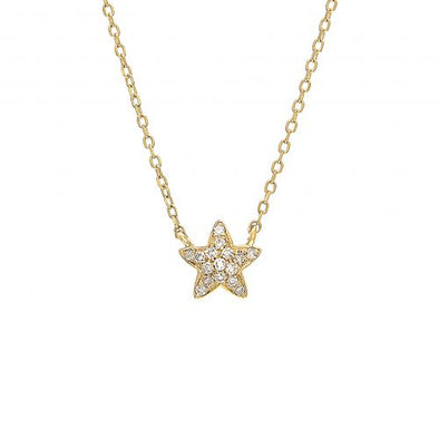 14K Yellow Gold Petite Star Diamond Necklace