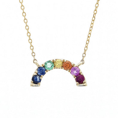 14K Yellow Gold Colored Stones Rainbow Necklace