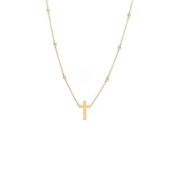 14K Yellow Gold Diamond By The Yard Necklace With Gold Cross