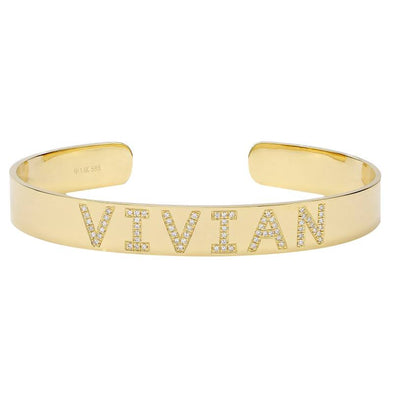 14K Diamond Personalized Cuff Bracelet- Customize yours!