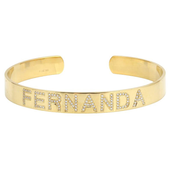 14K White Gold Personalized Bangle