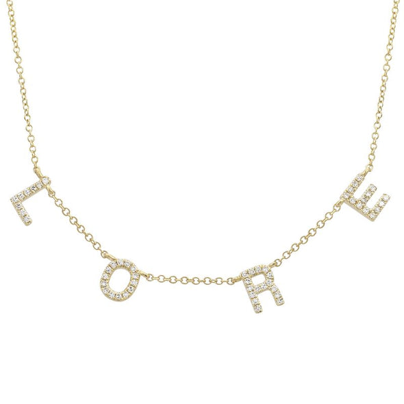 14K Yellow Gold Diamond Personalized Necklace
