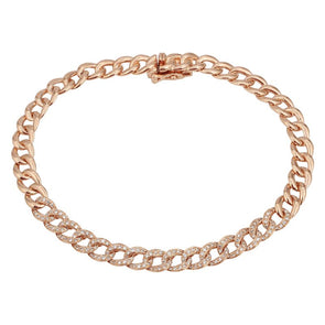 14K Rose Gold Diamond Curb Link Bracelet