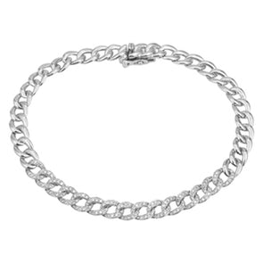 14k White Diamond Curb Link Bracelet