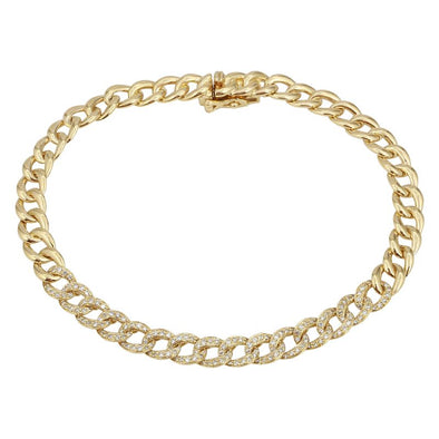 14k Yellow Diamond Curb Link Bracelet